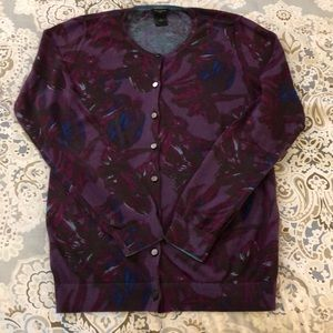 Purple and brown floral cotton sweater; size M